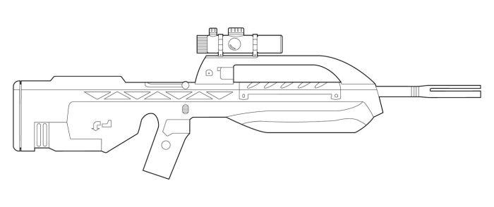 Drawn pistol halo 115 BR55 favourites Lineart MasterChiefFox