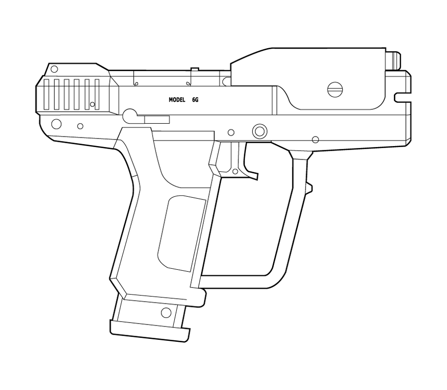 Drawn pistol halo 42 M6G m6g Lineart MasterChiefFox