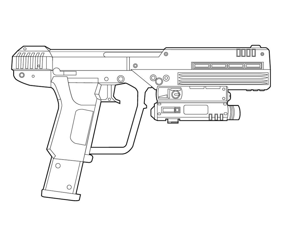 Drawn pistol halo Spiritual Lineart the piercing Pistol