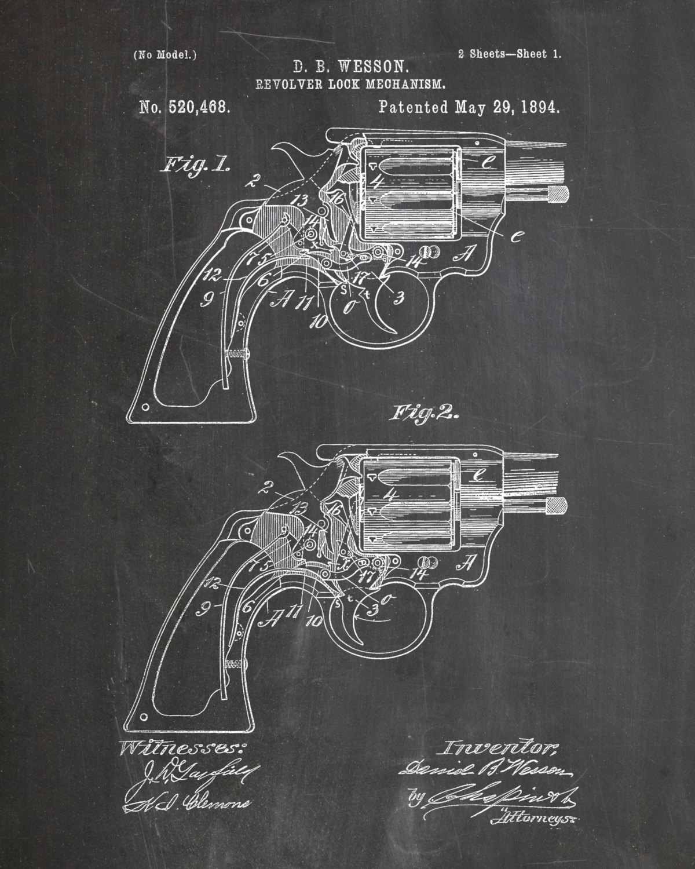 Drawn pistol hand gun Chalkboard Etsy Blueprint Revolver Wesson