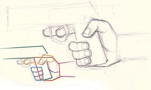 Drawn pistol hand holding Holding gun  digital holding