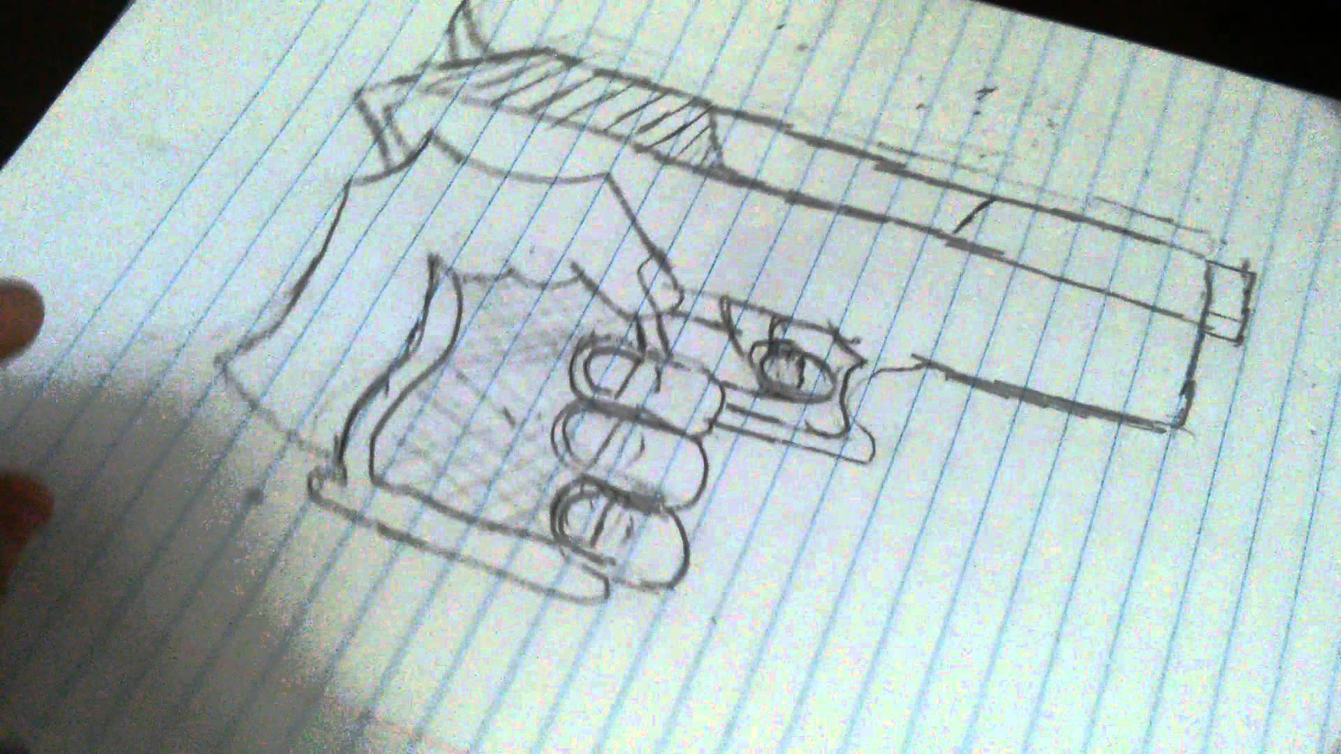 Drawn pistol hand holding To and YouTube 2 thumbs