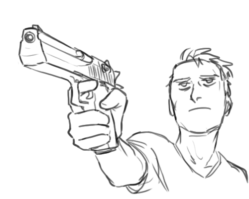 Drawn pistol hand holding Hello your are  art
