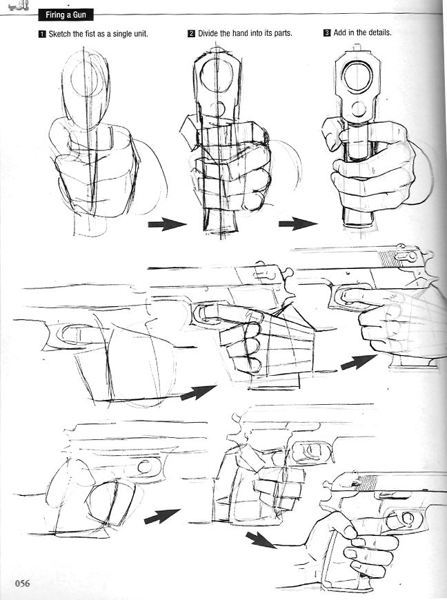 """Drawn pistol hand holding """"How 47 Hand about Holding"""