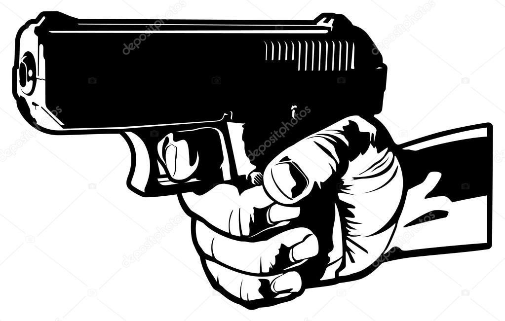 Drawn pistol hand holding Is pistol by Stock Vector