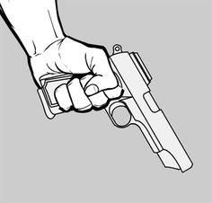 Drawn pistol hand holding Holding gun tutorials step step