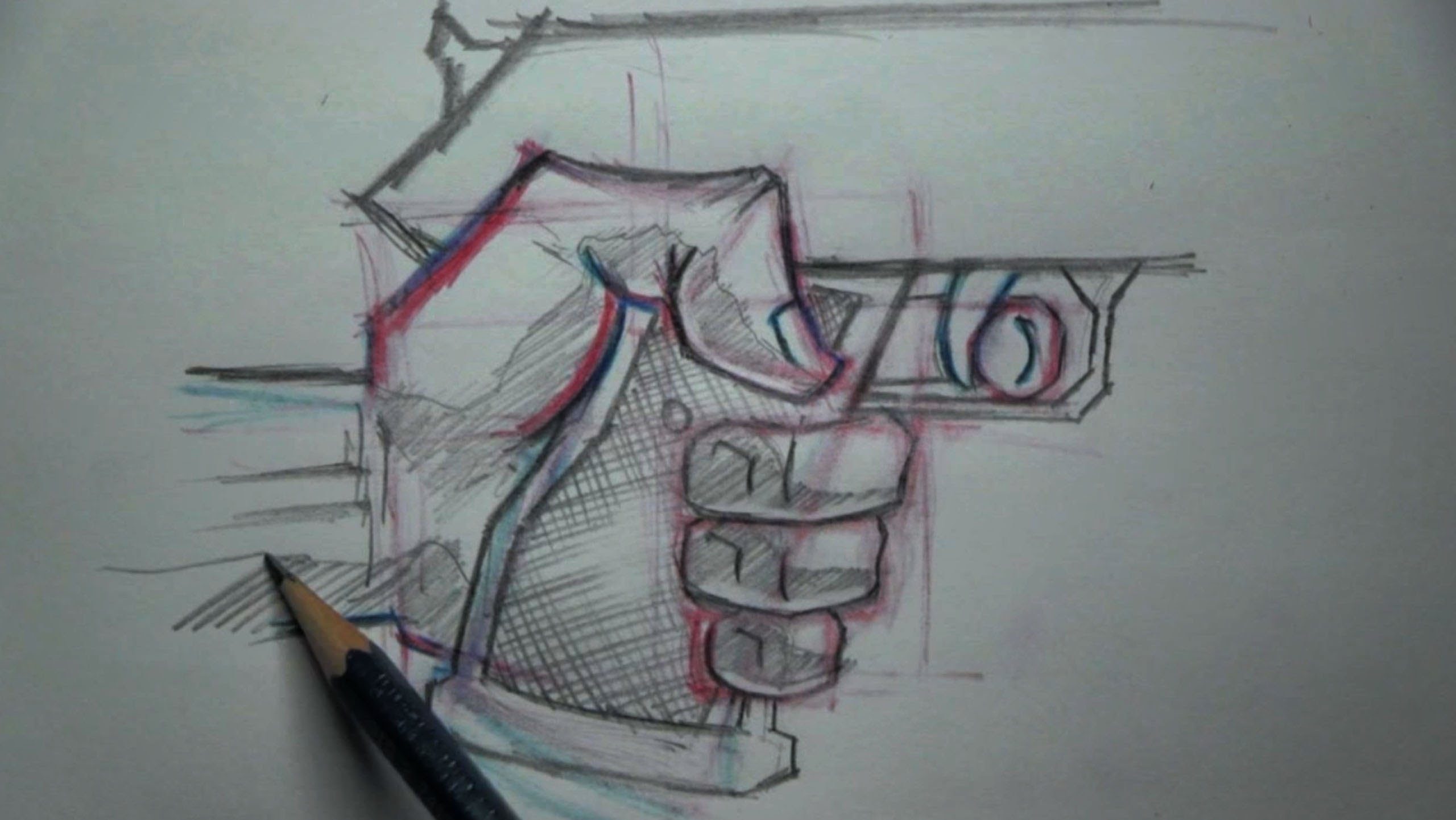 Drawn pistol hand holding Hand A YouTube Tutorial To