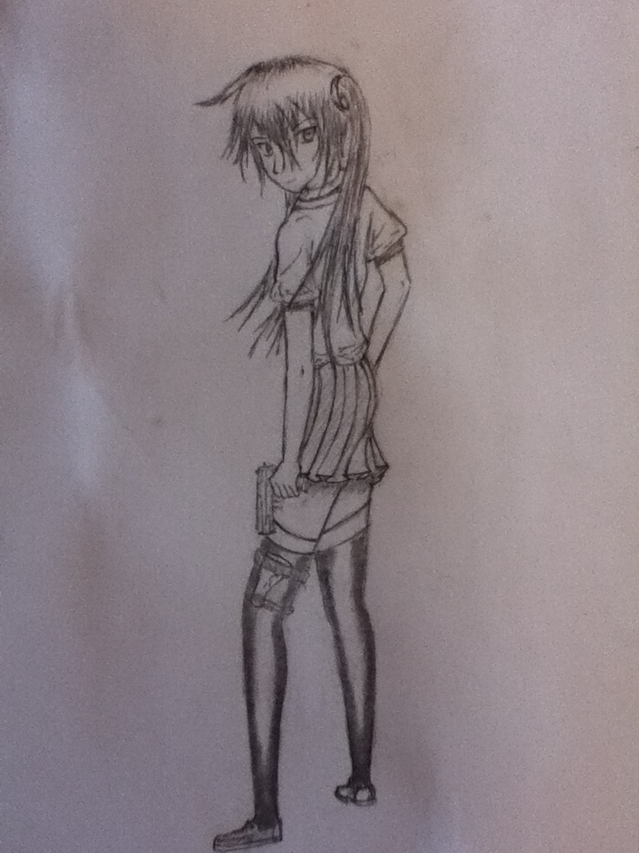 Drawn pistol hand holding Drawing Holding Gun Girl