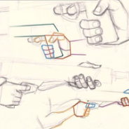 Drawn pistol hand holding Comic a Holding Video Gun