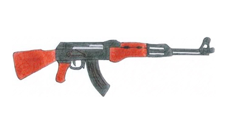 Drawn pistol little easy 47 rifle) AK to rifle)