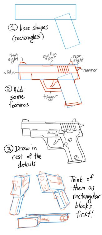 Drawn pistol long gun How Best drawing ideas Anonymous