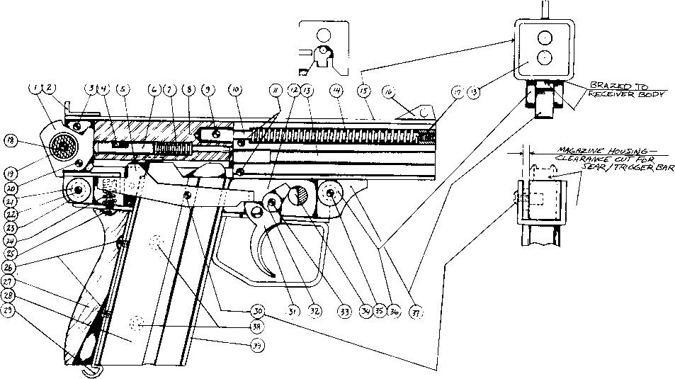 Drawn pistol machine gun Machine Mini //v Mini and