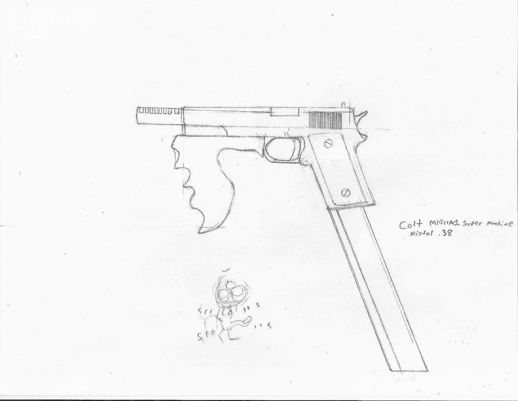 Drawn pistol machine gun 38 Super Machine by by