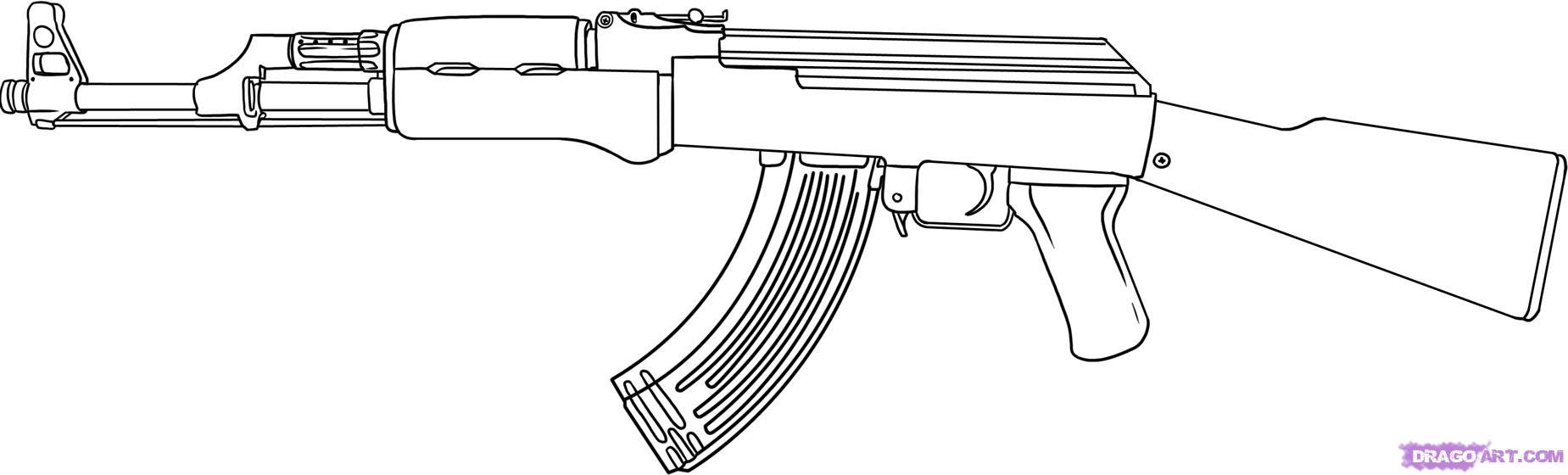 Drawn weapon pistol Bestofcoloring Military Kids At Boys