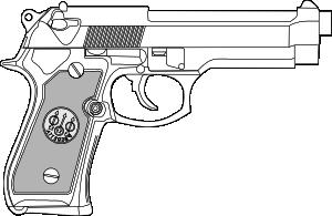 Drawn pistol nine Vector Pistol Clip art Clip