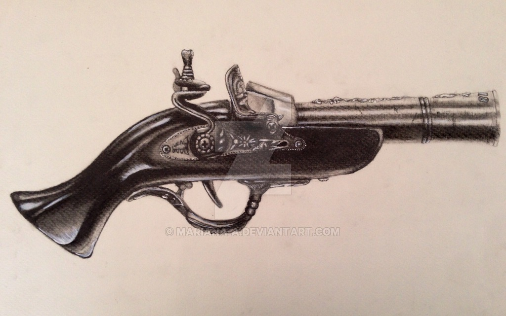 Drawn pistol old gun Mariana a pistol by Old