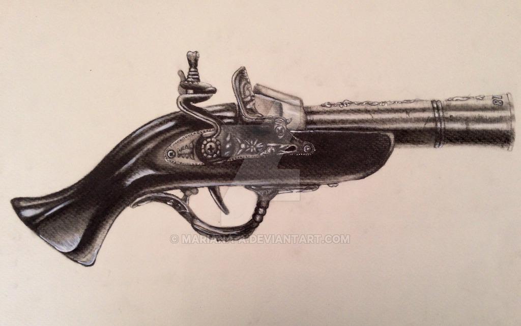 Drawn pistol old gun Mariana a pistol by Old