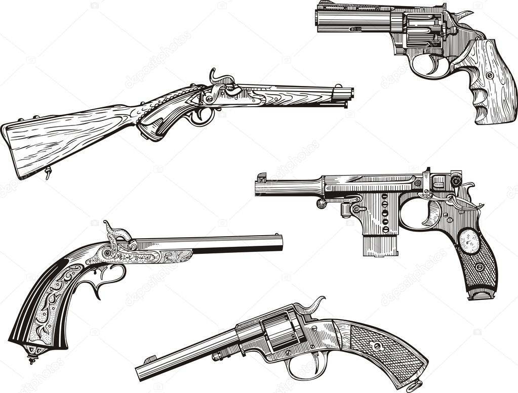 Drawn pistol old gun Vector Old Guns  Western