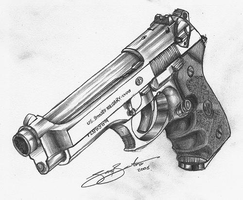 Drawn pistol pencil drawing CcHIKAA Guns 3Hd Geweld'' ''Tegen