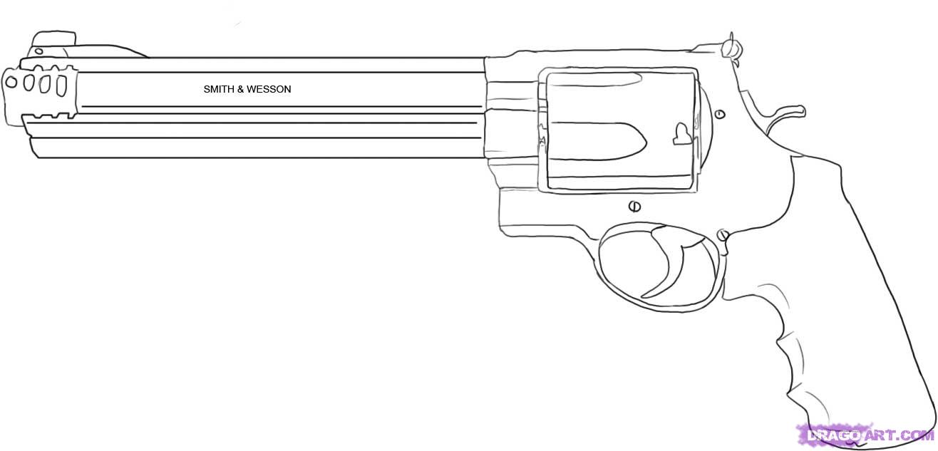 Drawn pistol pencil drawing Weapons Step 4 step magnum