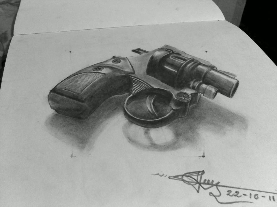 Drawn shotgun pencil Wonderful gun drawing the pencil