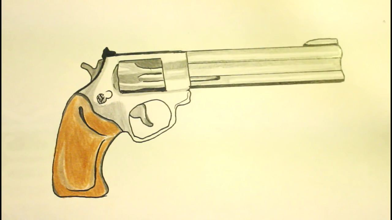 Drawn pistol pencil drawing By Gun Step By to