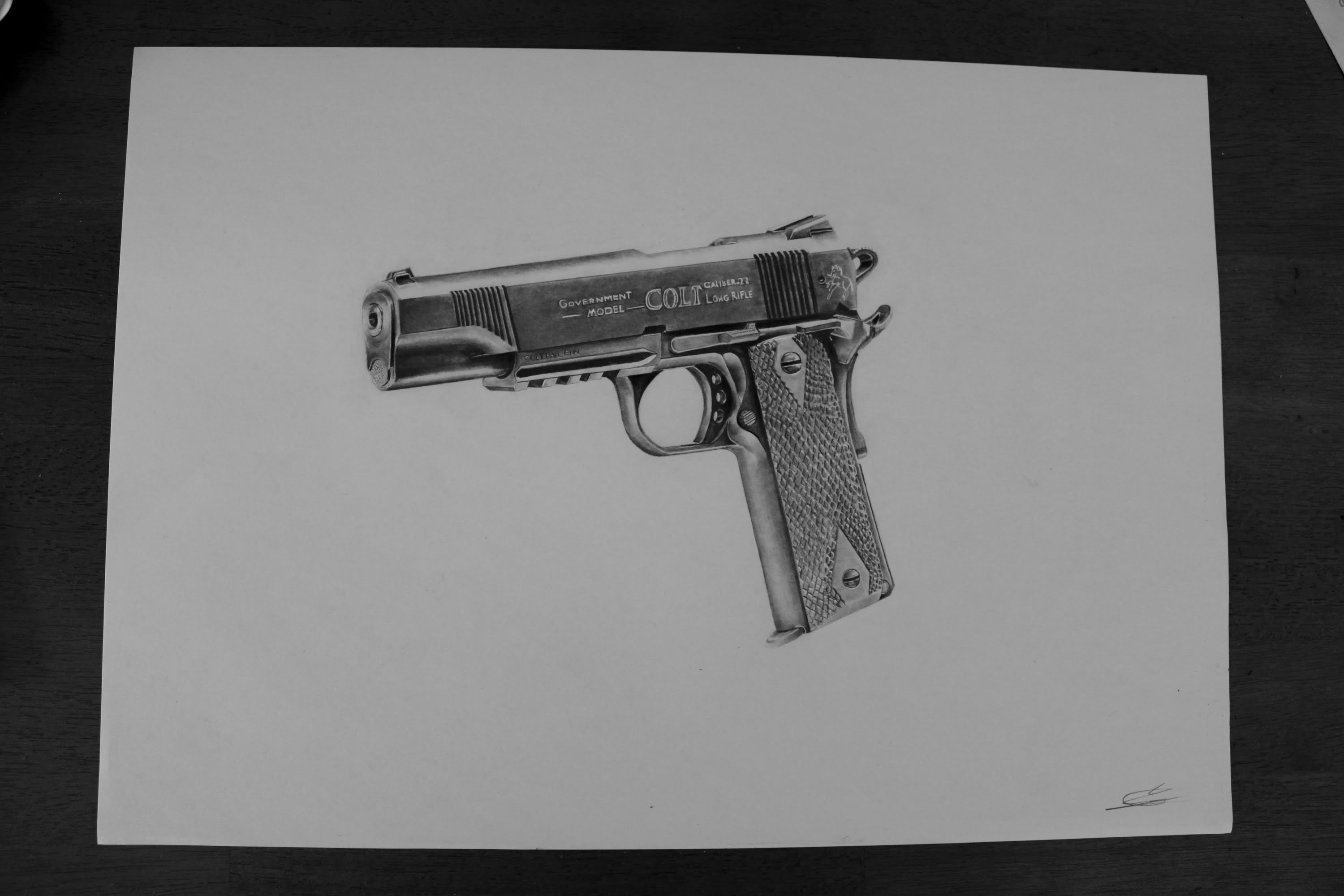 Drawn pistol pencil drawing Drawing Realistic pencil Realistic YouTube