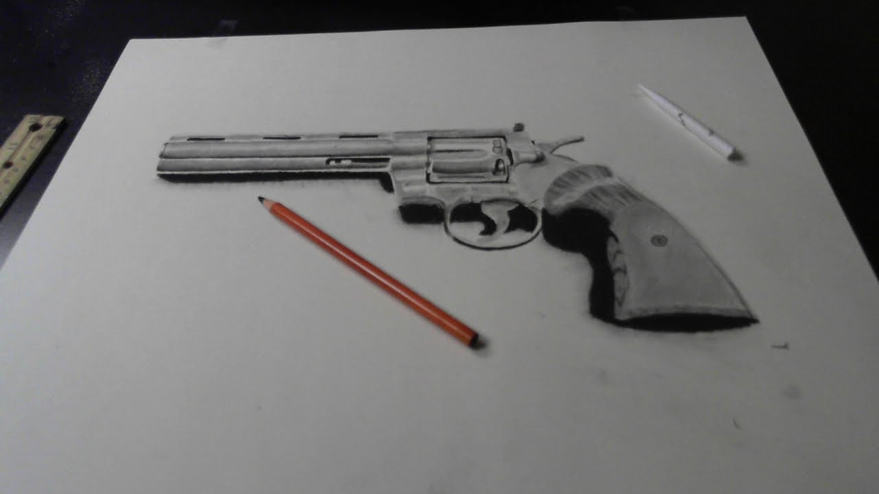 Drawn pistol pencil drawing YouTube magnum practice drawing 357