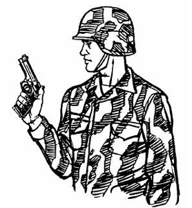 Drawn pistol person Hold weapon a 45 Rockets