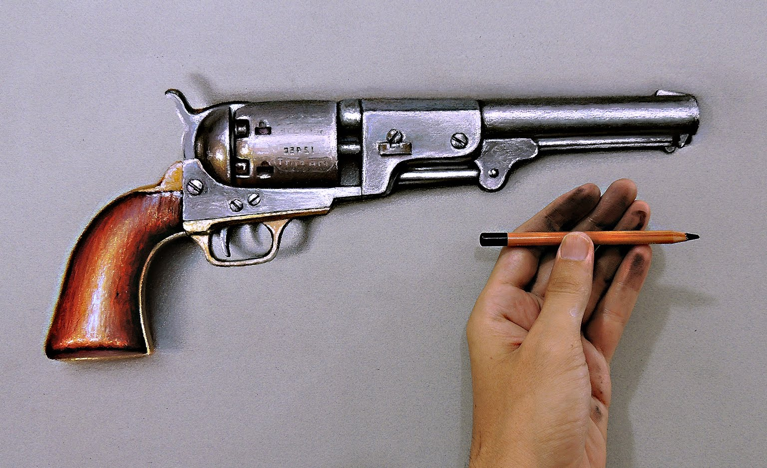 Drawn pistol realistic Crazy realistic gun How draw