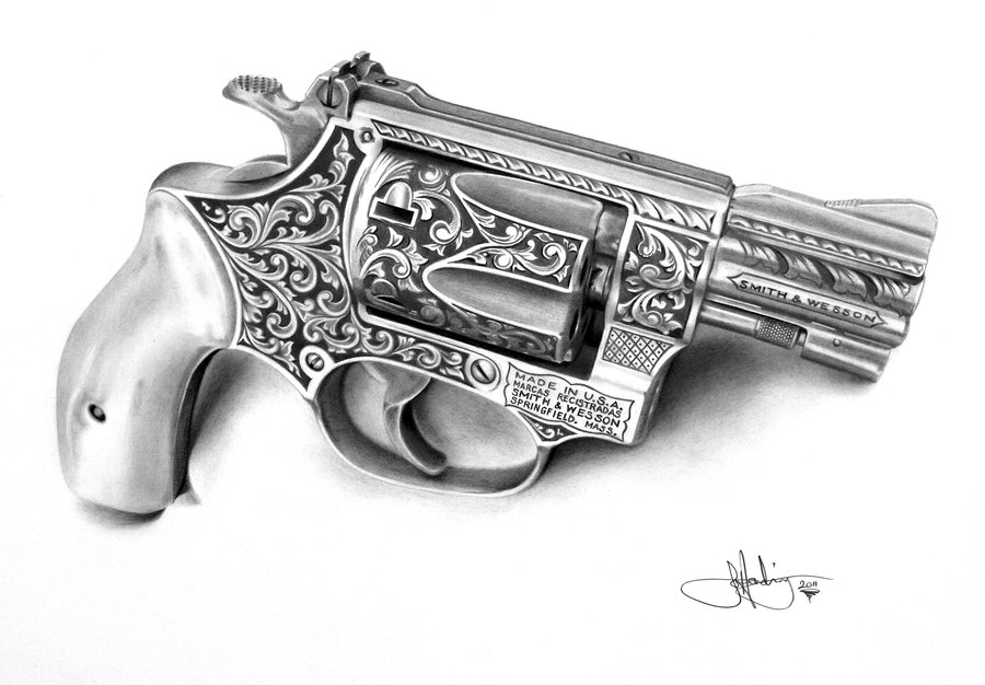 Drawn pistol realistic By on on and Wesson