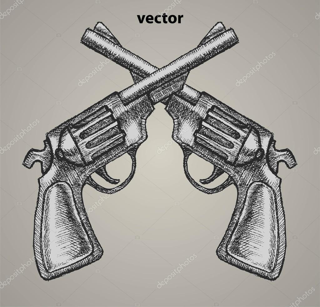 Drawn pistol realistic Revolvers  Retro Vector Cards
