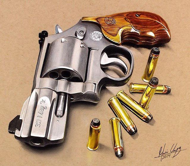 Drawn pistol realistic Pencil Drawings Gun  In