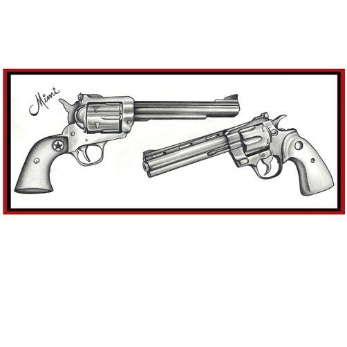 Drawn pistol revolver gun About Revolver Tattoo images gun
