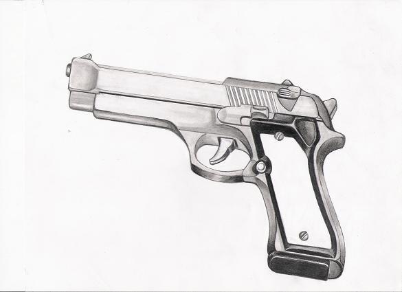Drawn pistol rifle Gun by tchavez on by