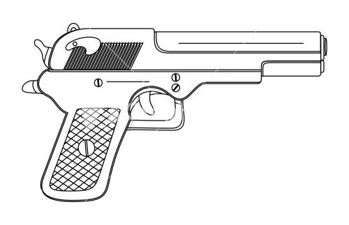 Drawn pistol rifle  Drawing Image Stock Gun