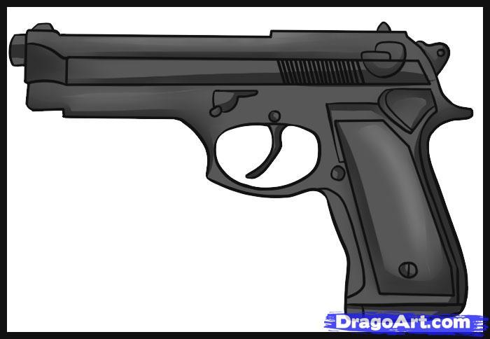 Drawn pistol rifle Step Gun  Simple how