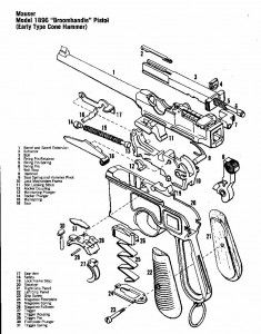 Drawn pistol schematic Drawing technical picture is a