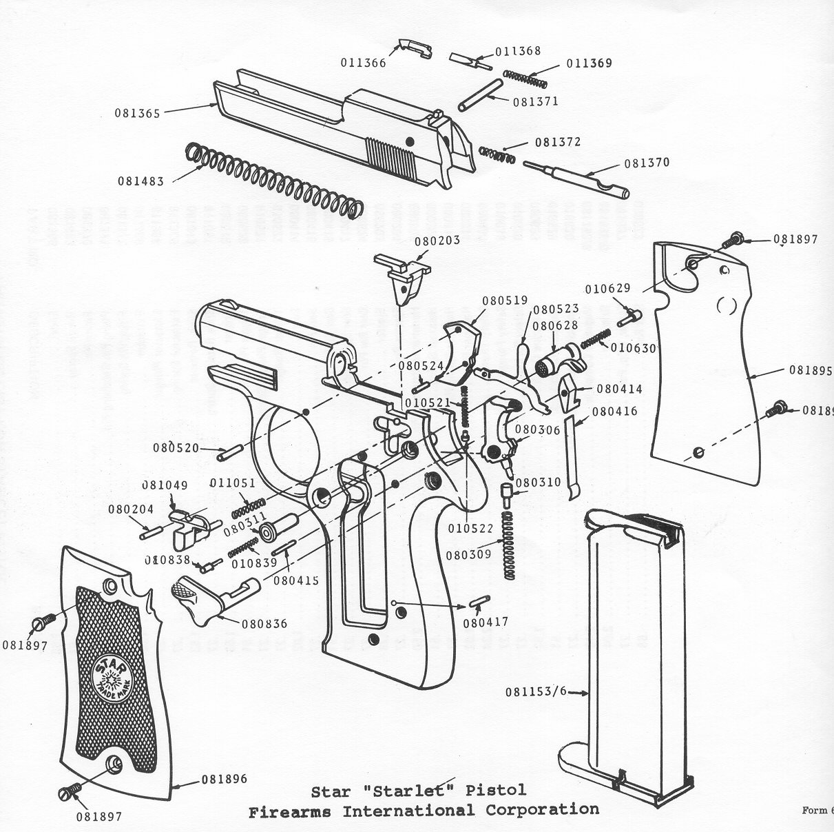Drawn pistol schematic Gun Shop Bob's Repair Parts