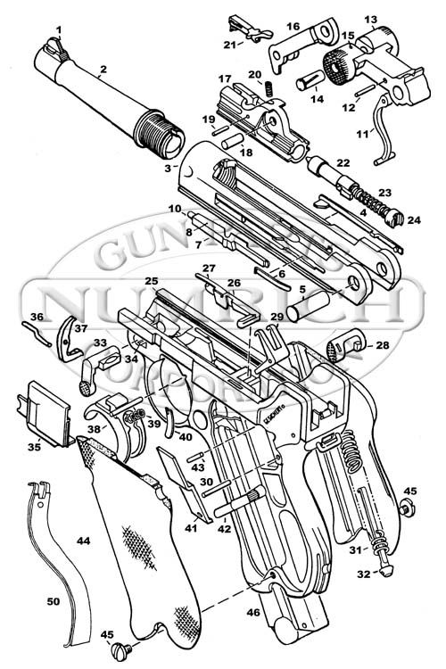 Drawn pistol schematic German 196 Schematic Luger P