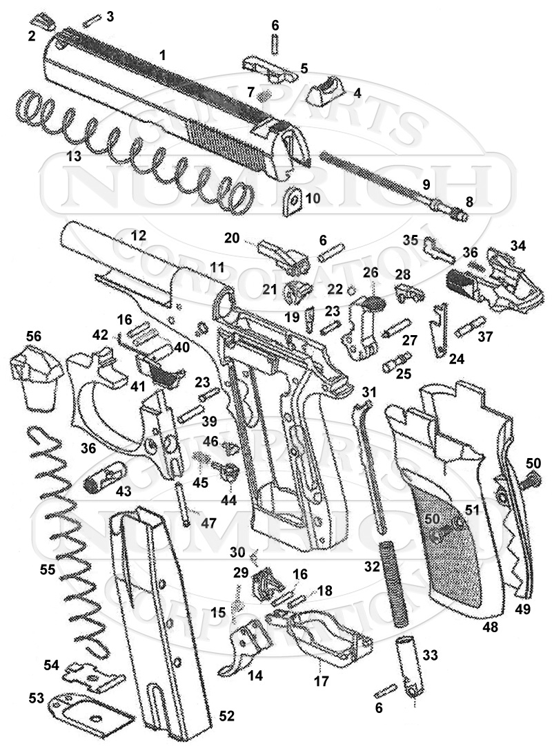 Drawn pistol schematic Image Parts Numrich 82 PISTOL