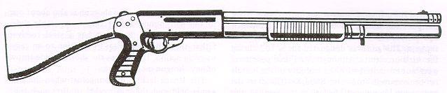 Drawn pistol shotgun Action Franchi is SPAS12 Franchi