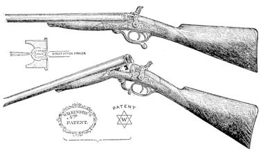 Drawn pistol shotgun Patent Wilkinson's shotgun Accoutrements drawing