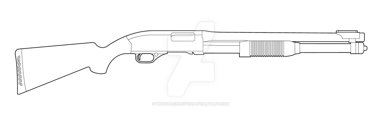Drawn pistol shotgun 7 Lineart pumpaction DeviantArt Winchester
