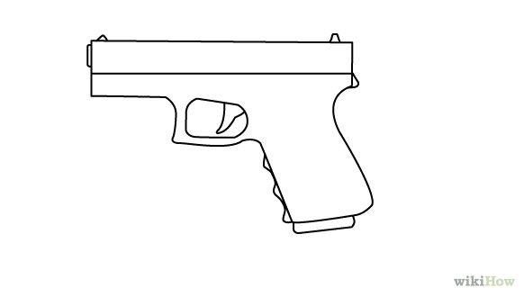 Drawn pistol simple Simple outline Pistol Outline search