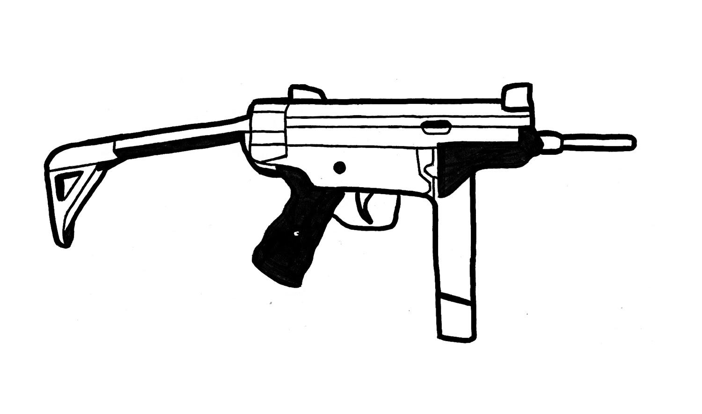Drawn pistol simple To a YouTube Gun Machine)