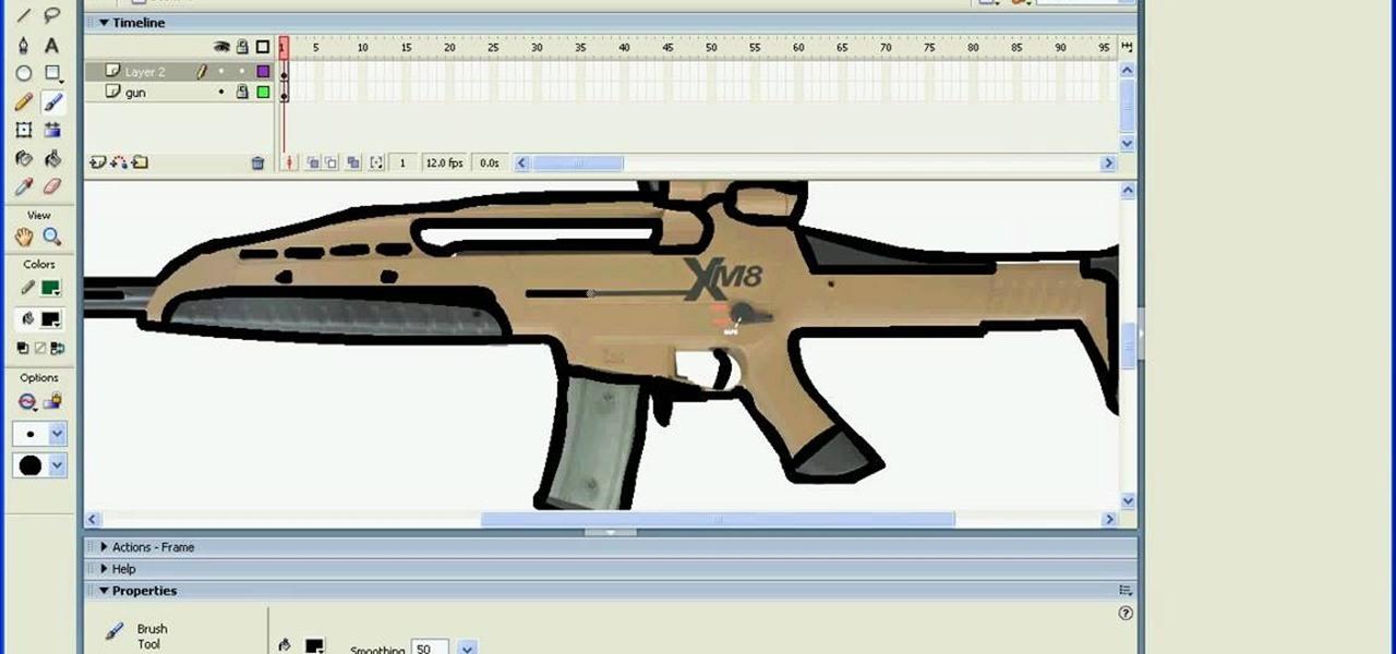 Drawn pistol simple To guns Flash Adobe Macromedia