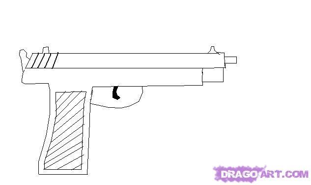 Drawn pistol simple Draw gun Step by MS
