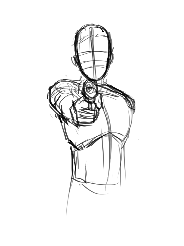 Drawn pistol sketch – He – Doodles drawing