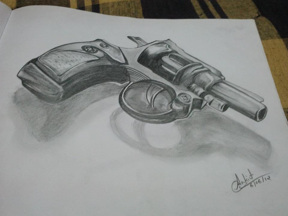 Drawn pistol sketch Guns Pencil Of IMGFLASH Of